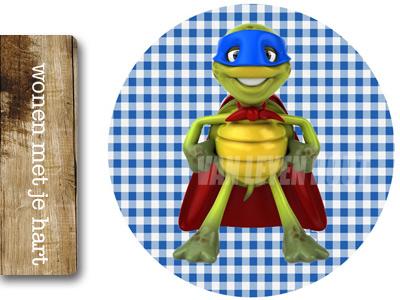Muursticker Super Turtle Rond