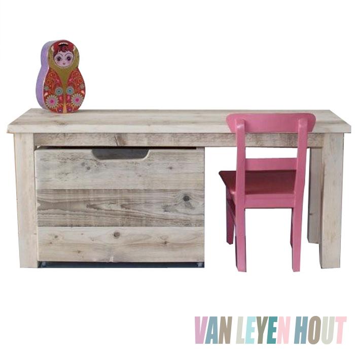 Kindertafel van steigerhout open zijkant 150 cm